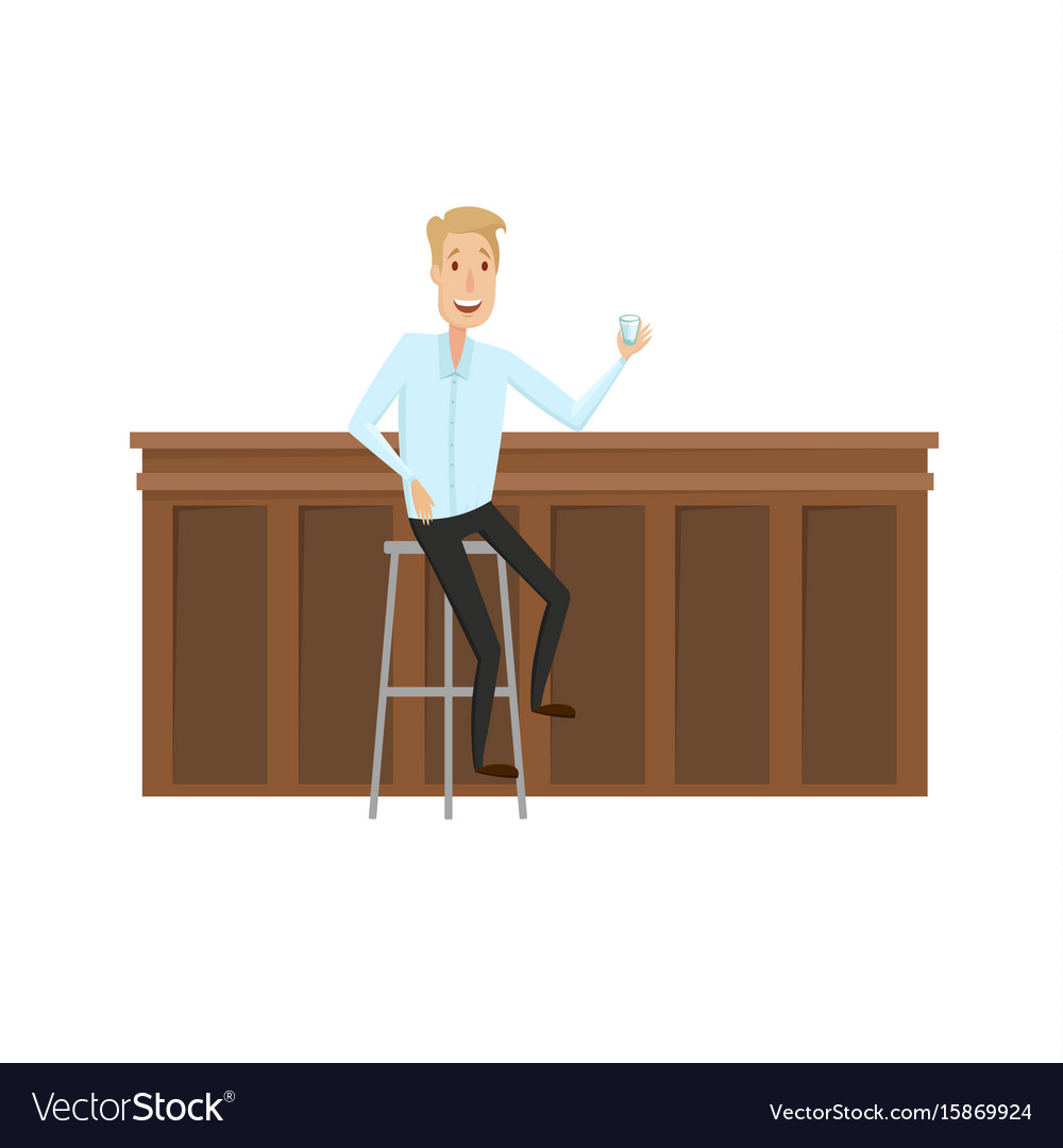 The man at the bar flat and cartoon style on a