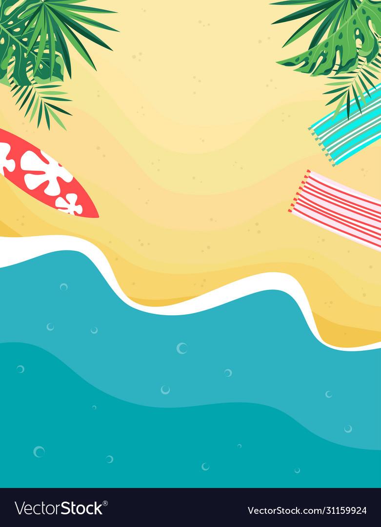 Tropical beach card with sand and sea