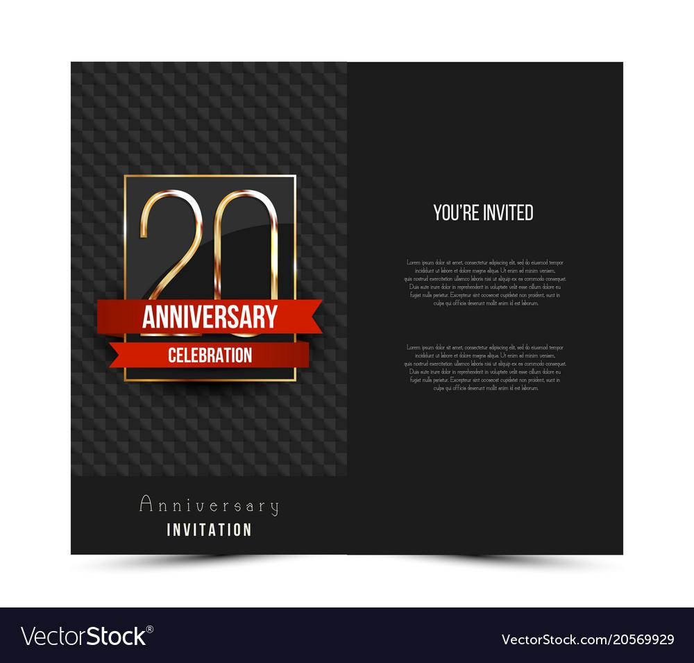 20th anniversary invitation card template vector image stopboris Gallery
