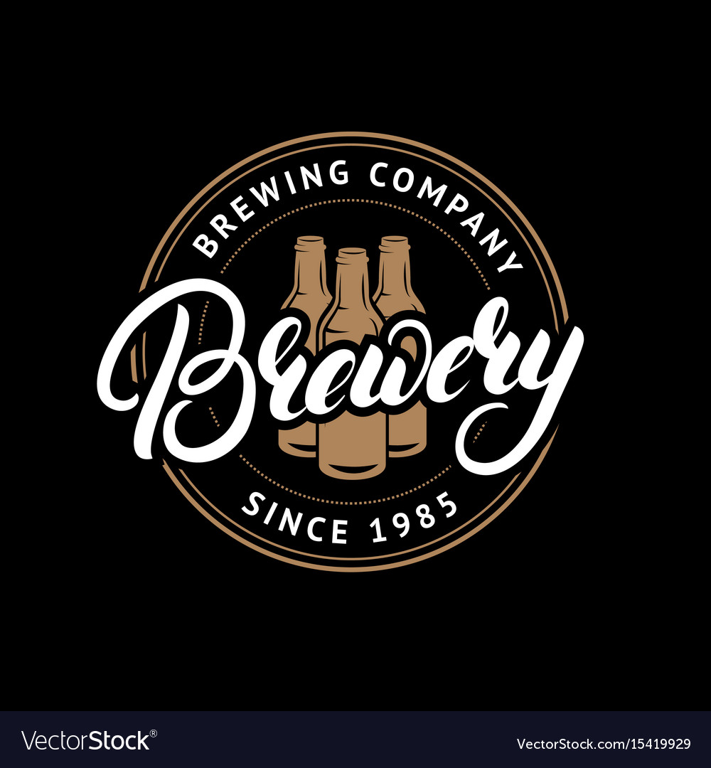 Brewery hand drawn lettering logo label badge