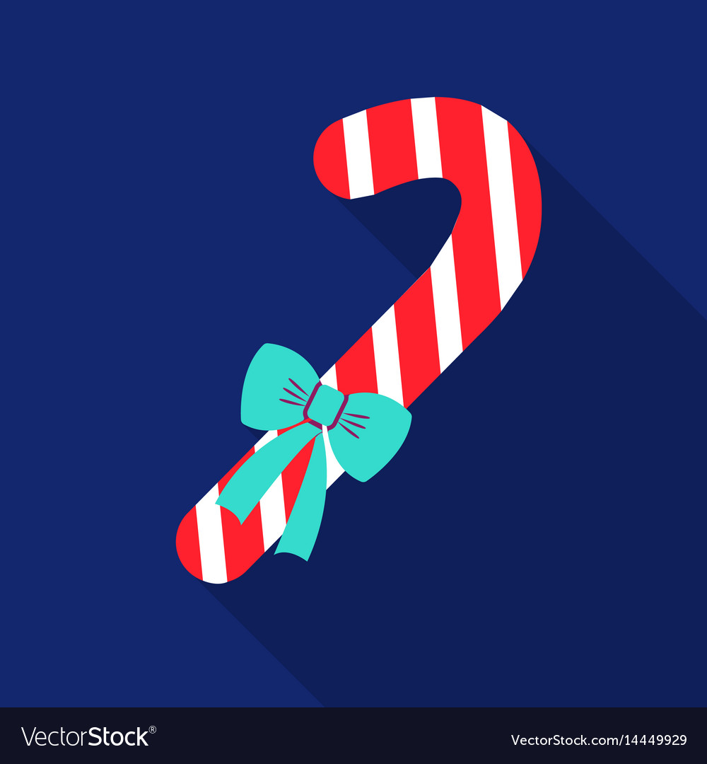 Christmas candy cane with ribbon bow icon in flat