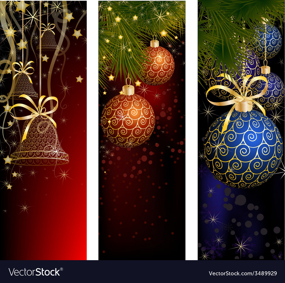 Christmas website banner set decorated with Xmas