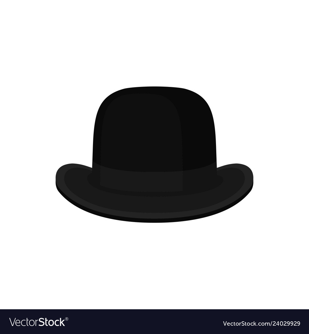 Flat of classic black bowler or derby hat
