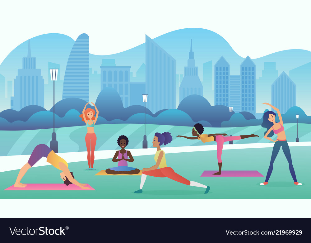 Group women doing yoga in park with modern