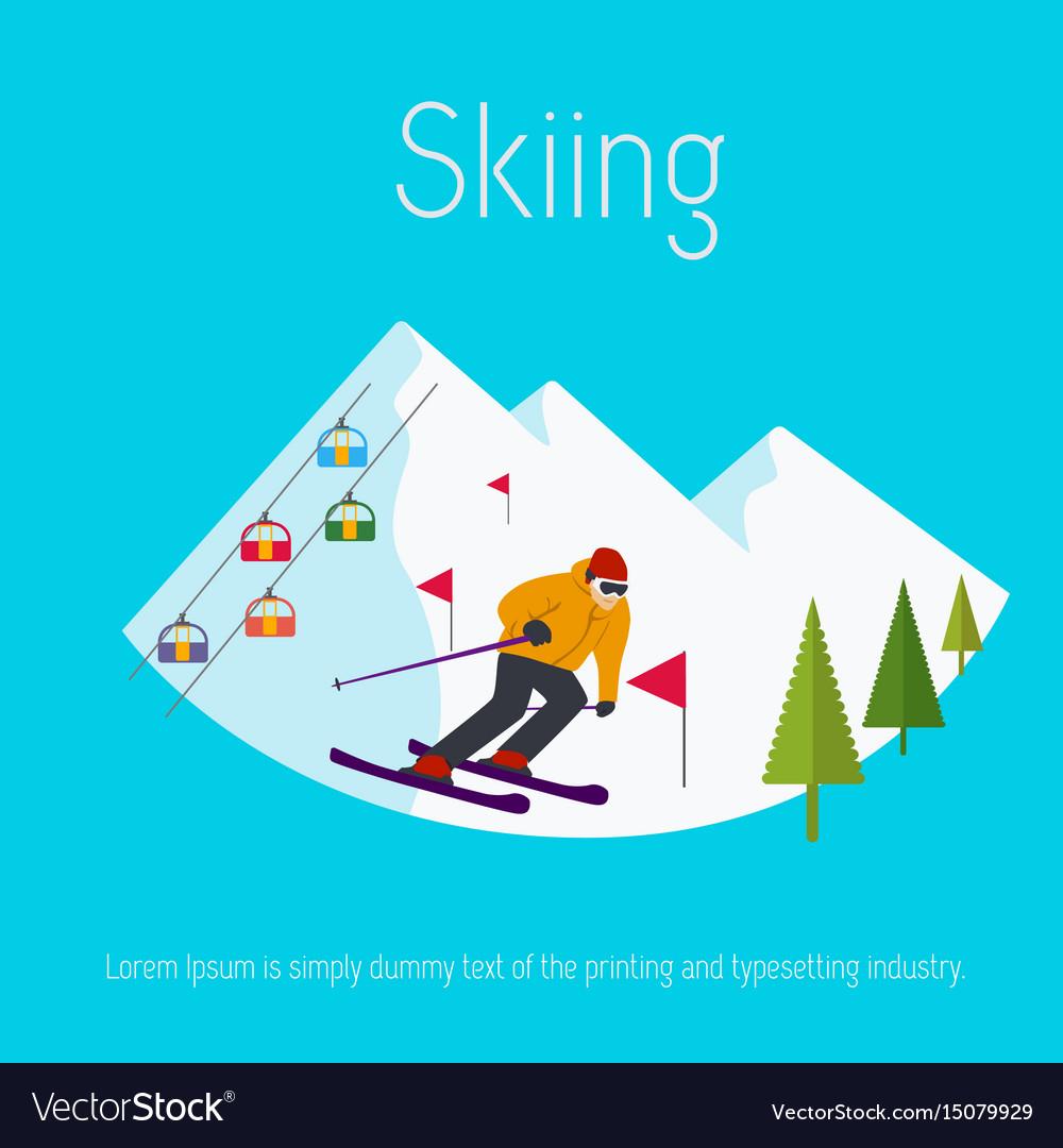 Mountains ski resort trees skier flat design