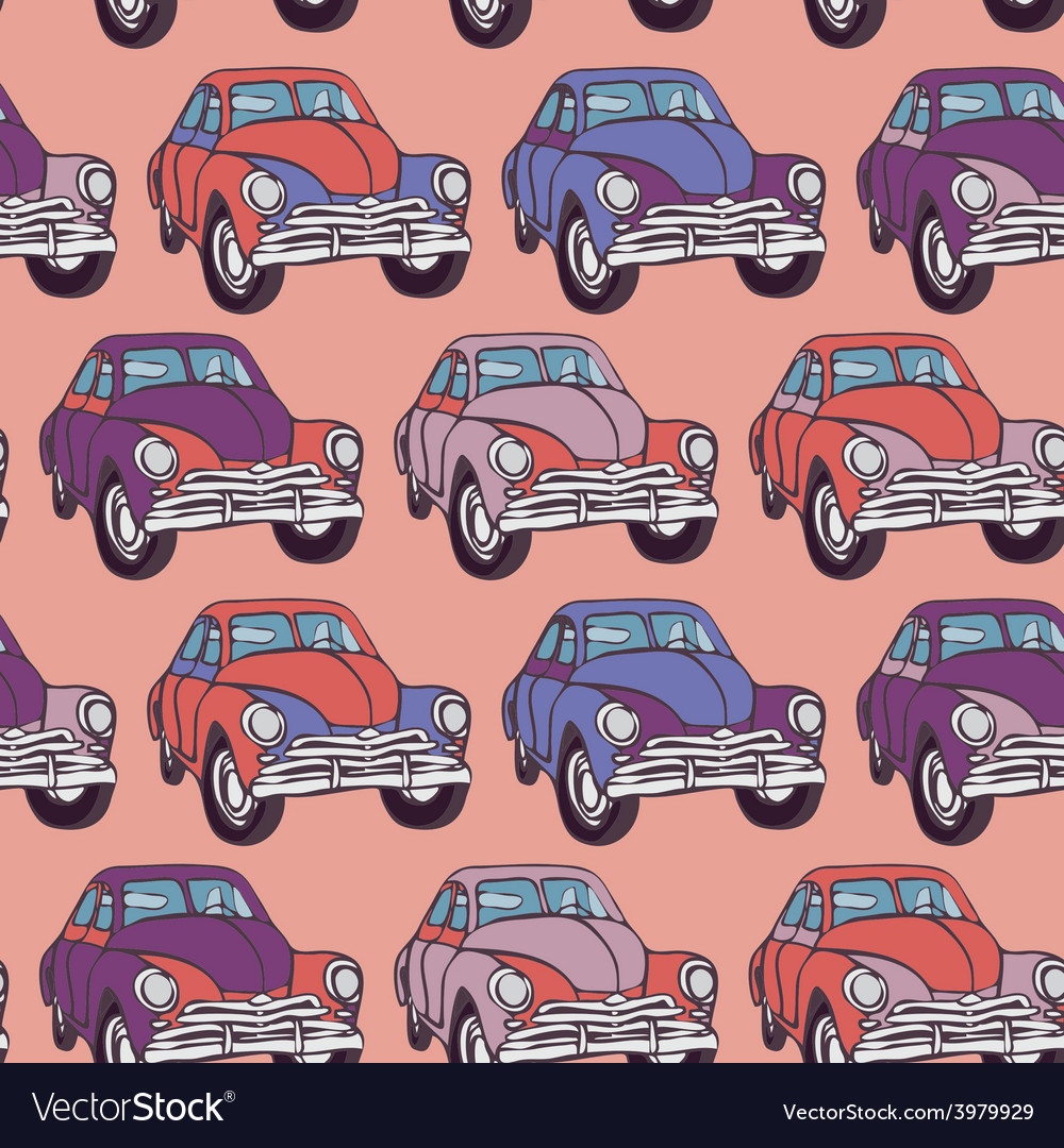 Seamless car pattern Sketch Pink lilac purple