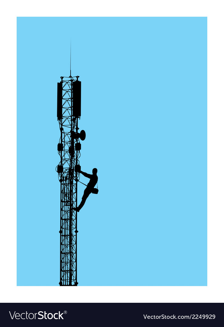 Silhouette of worker climbing on mobile tower