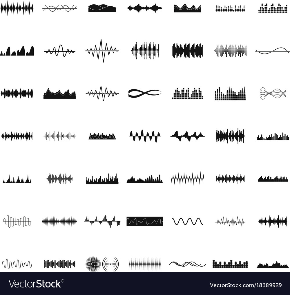 Sound wave icons set simple style