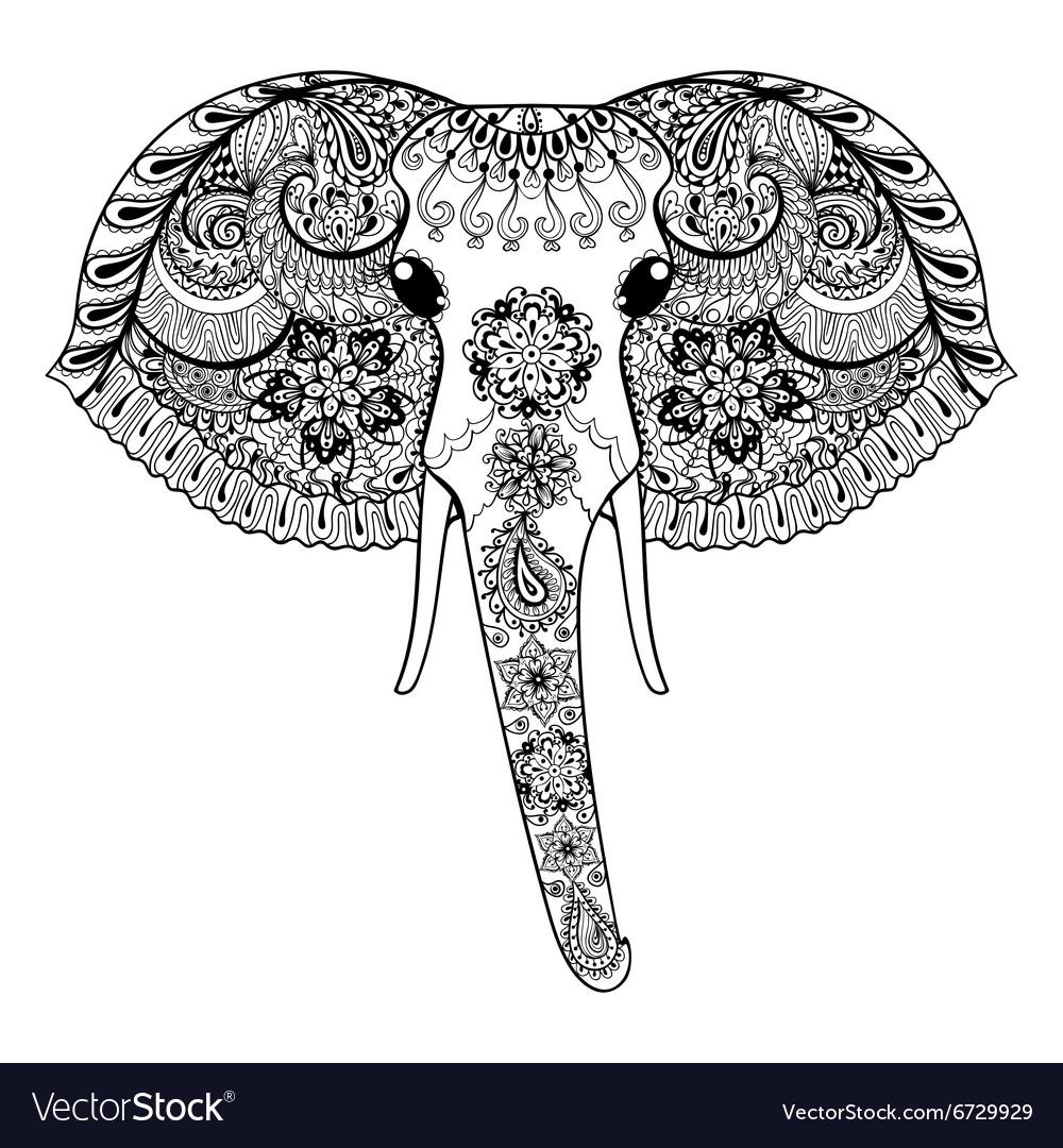 Zentangle stylized Indian Elephant Hand Drawn