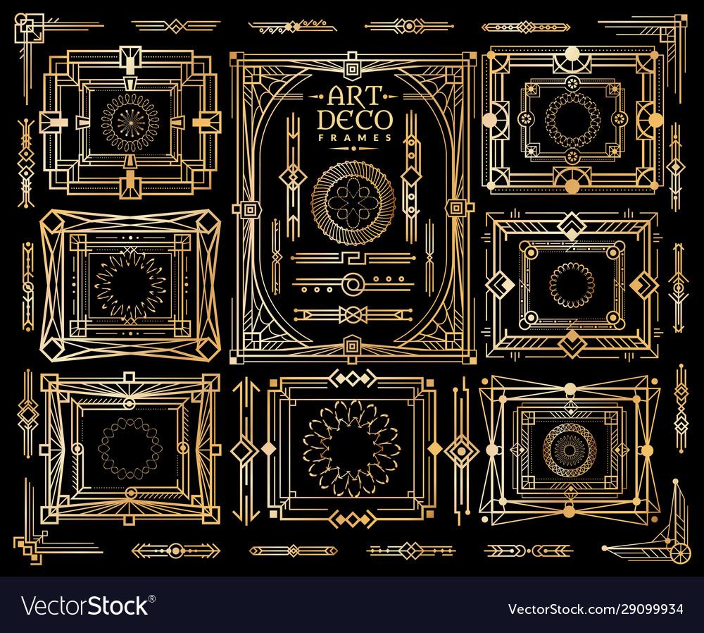 Art deco set ornament nouveau pattern frame