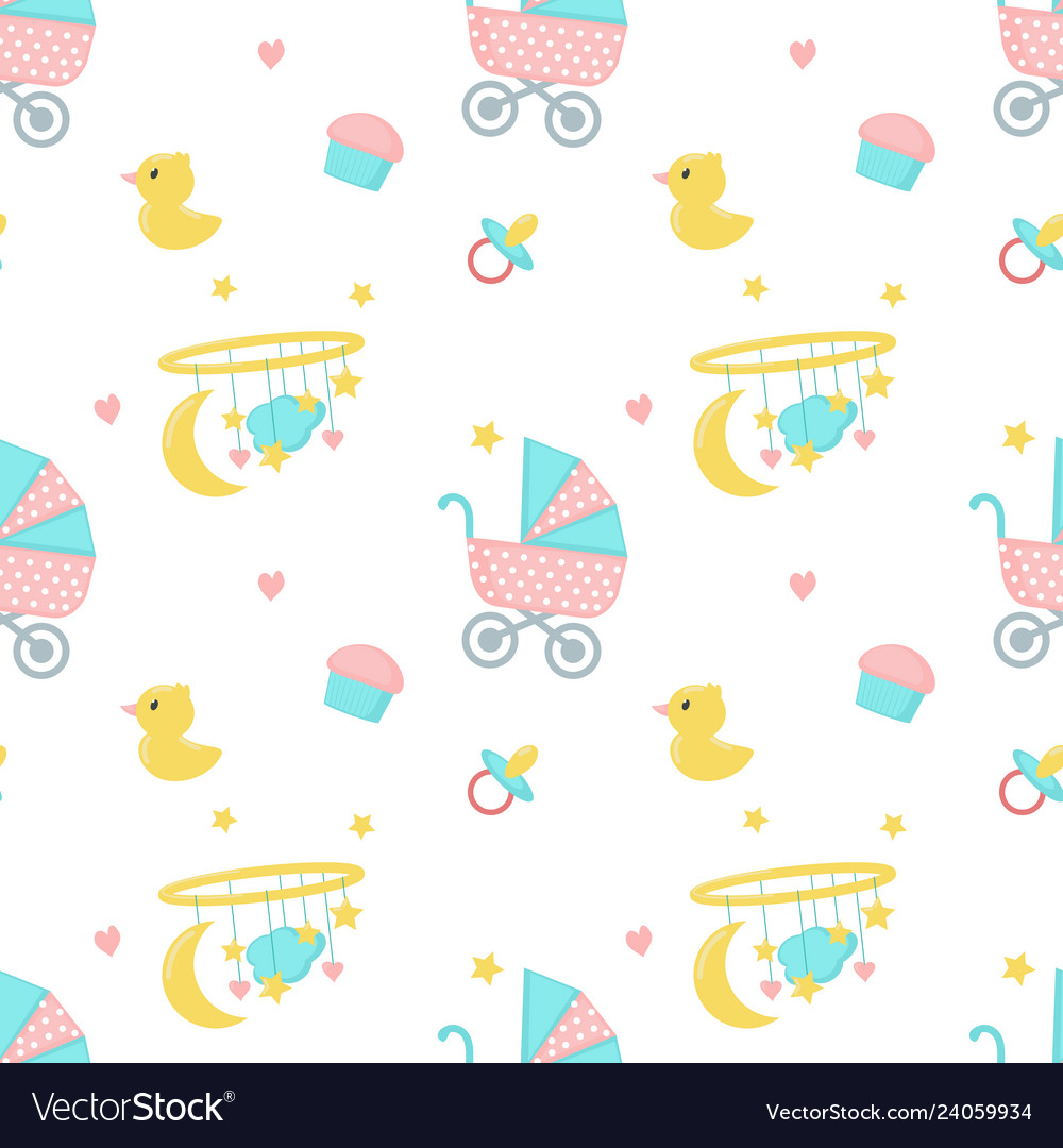 Baby shower seamless pattern with newborn