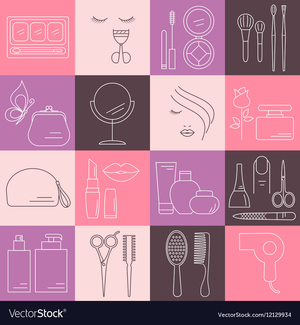 Beauty Cosmetic and Makeup line icons vector image
