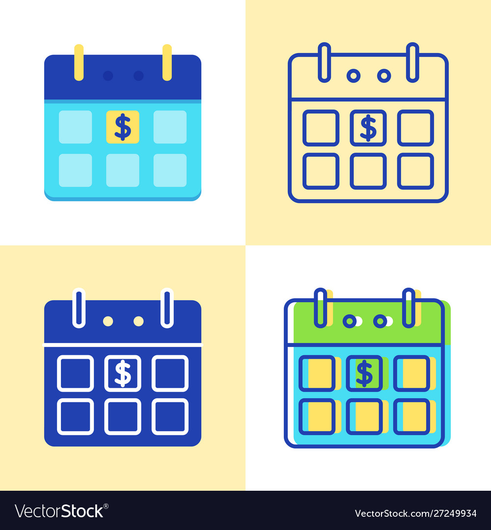 Calendar with dollar sign icon set in flat and