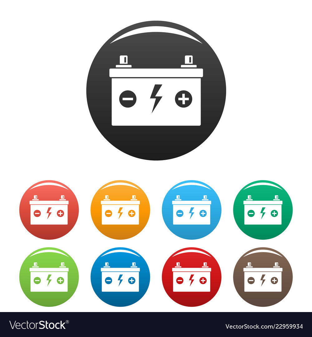 Car battery icons set color