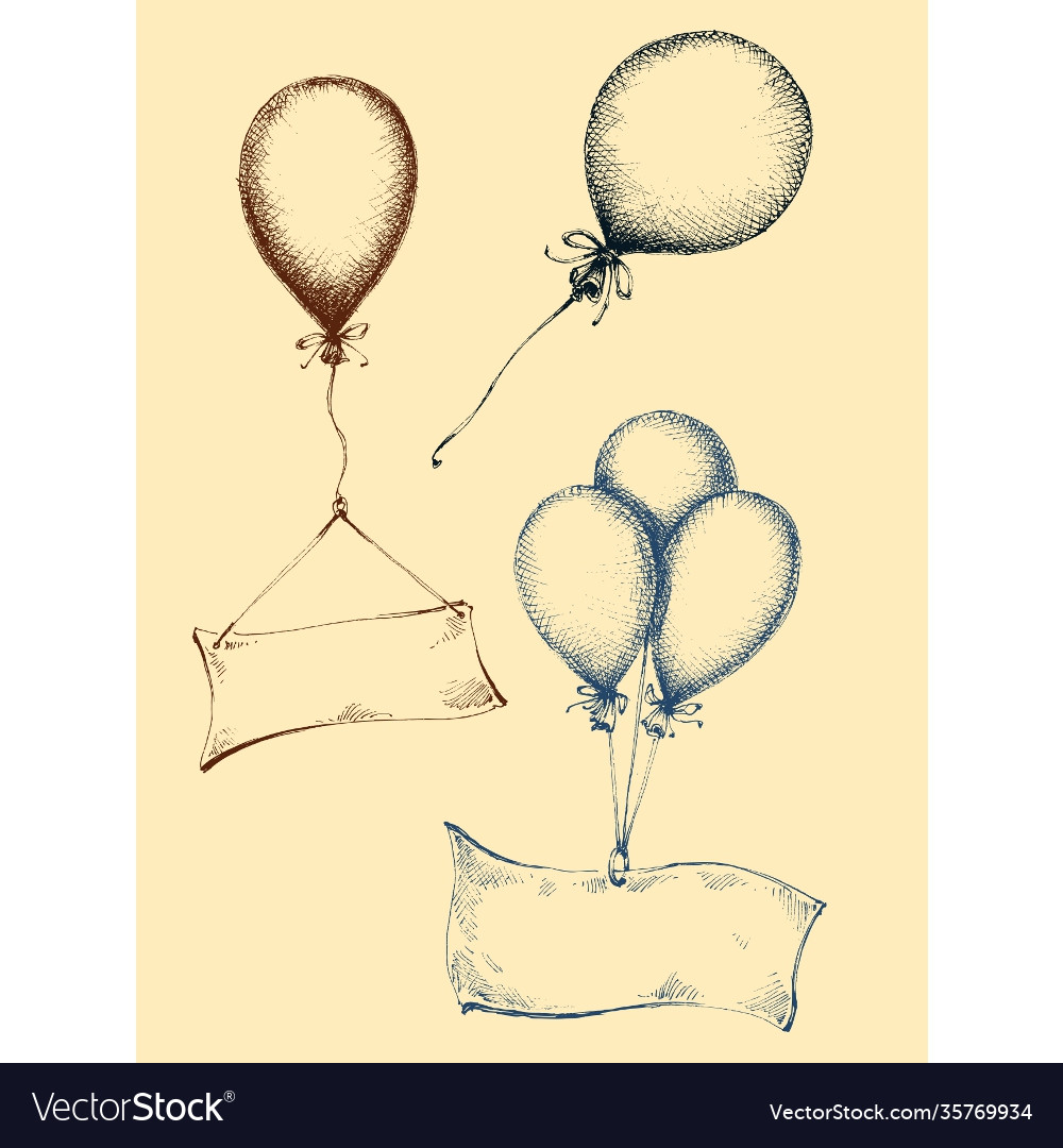 Hand drawn balloons collection isolated