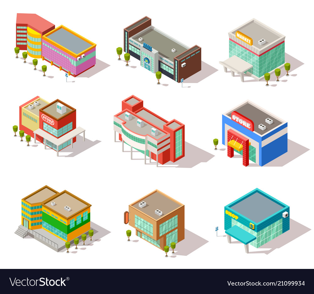 Isometric mall store shop and supermarket