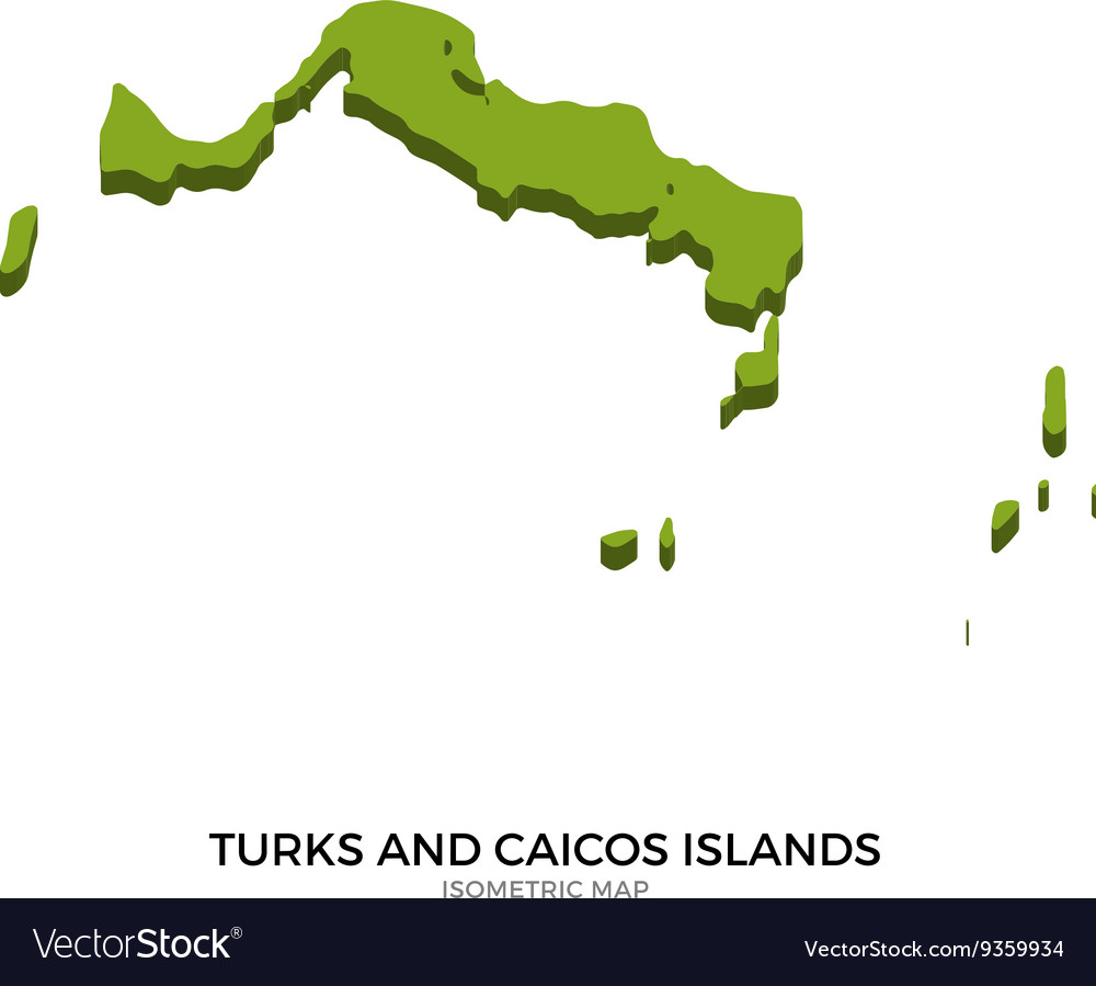 Isometric map of Turks and Caicos Islands detailed vector image