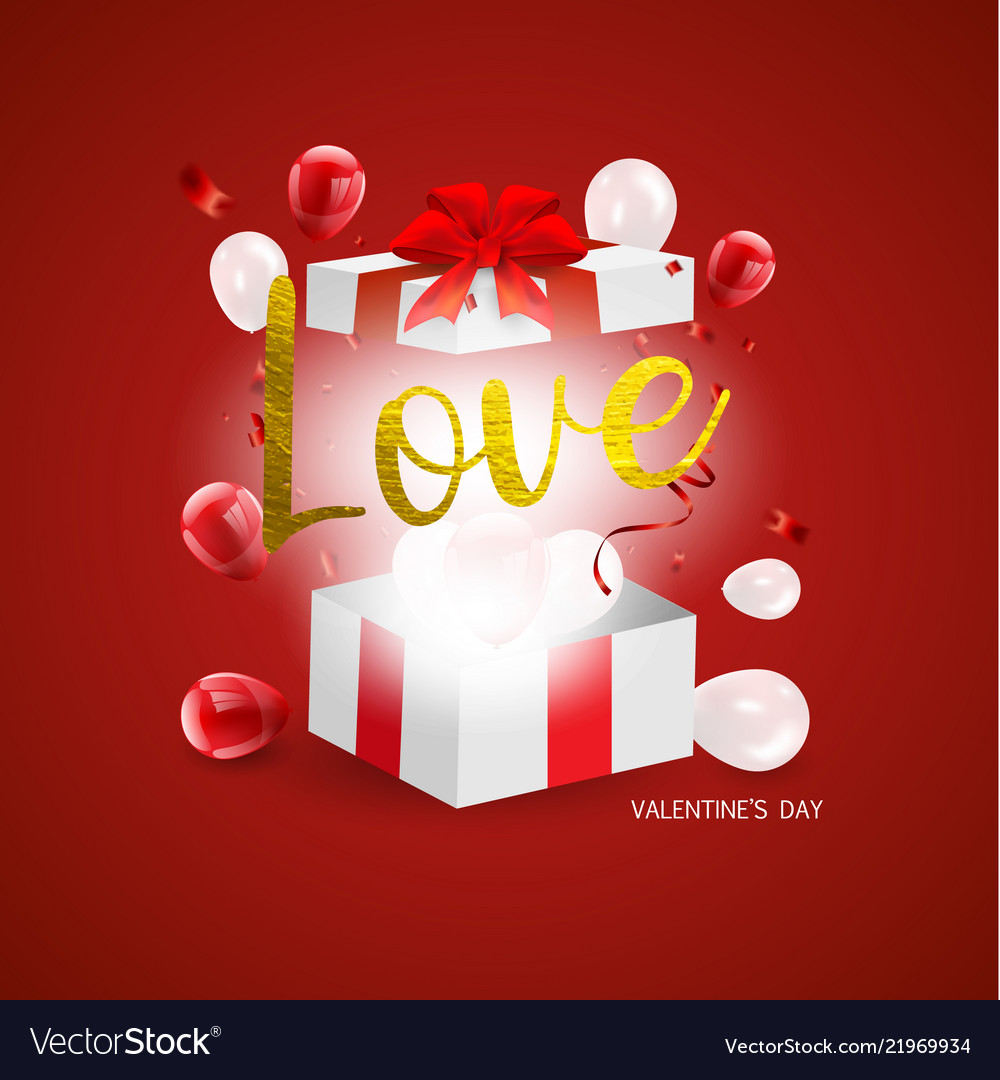 Love Valentines Day Concept With Gift Box And Vector Image