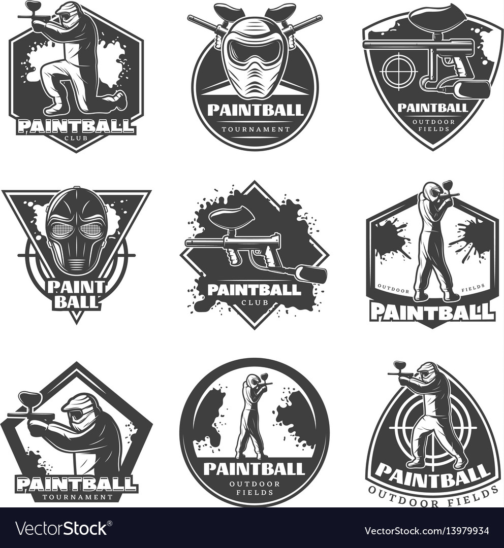 Monochrome vintage paintball club labels set