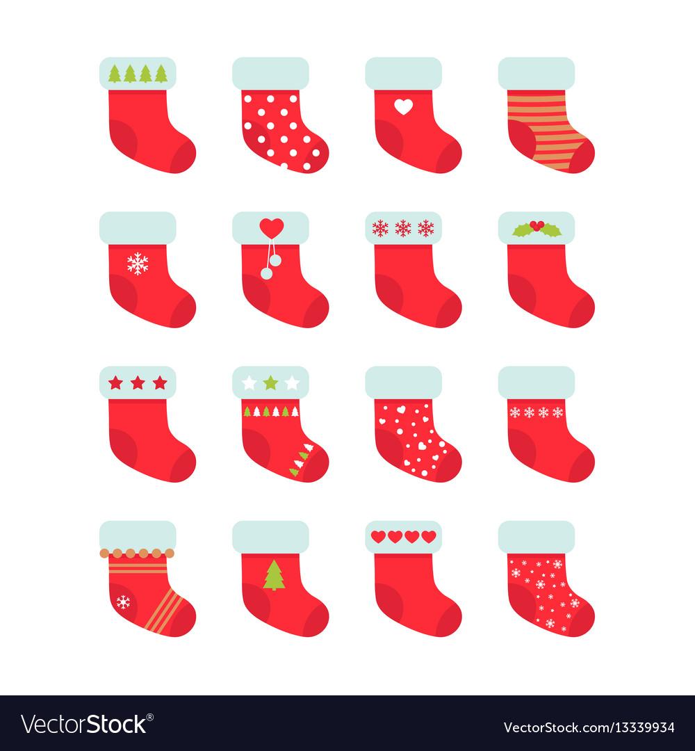 Set of red christmas socks christmas stocking