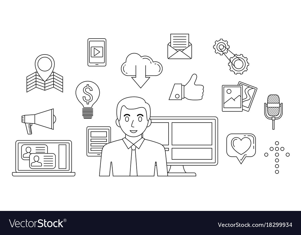 Social media concept internet communication theme vector image