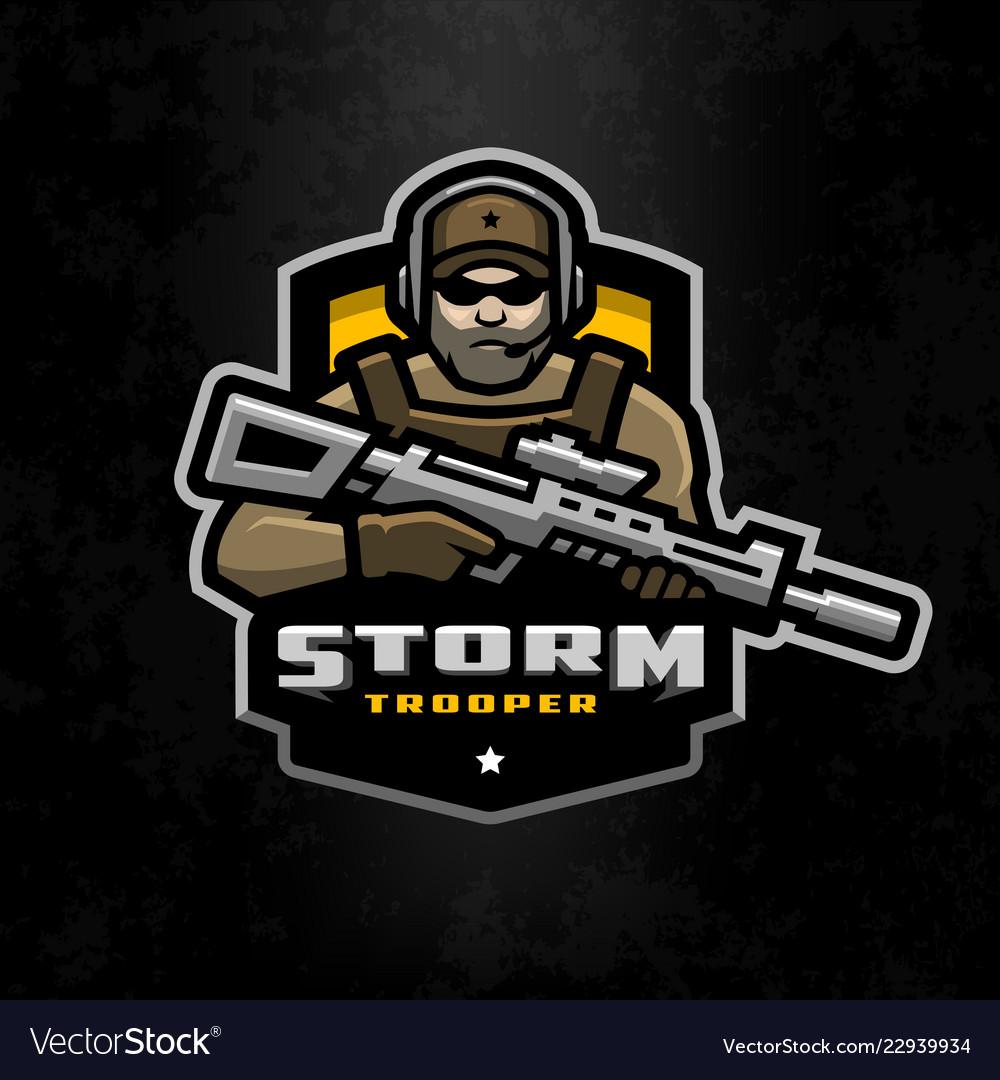 Storm trooper mascot logo desing on a dark Vector Image c97f5bd1ba