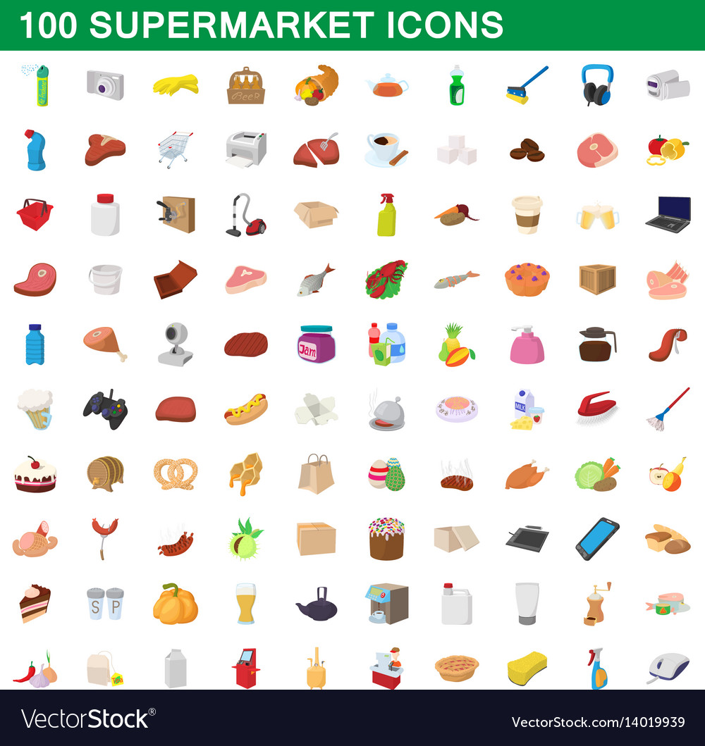 100 supermarket set cartoon style