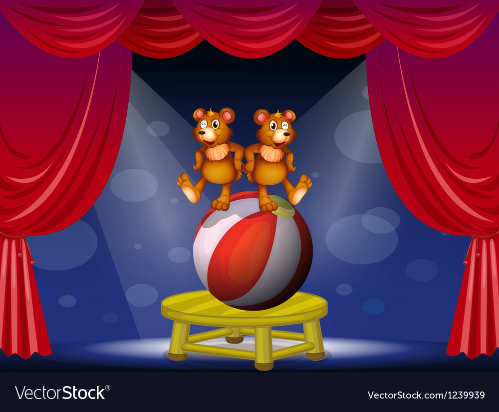A circus show with two bears