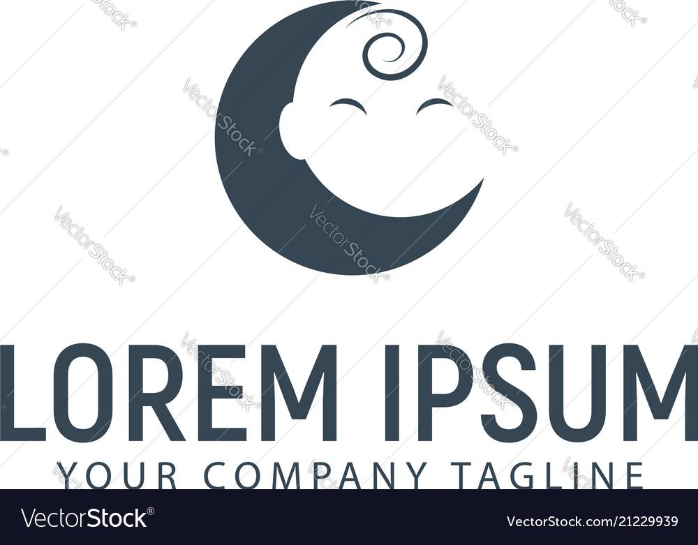 Baby moon logo design concept template