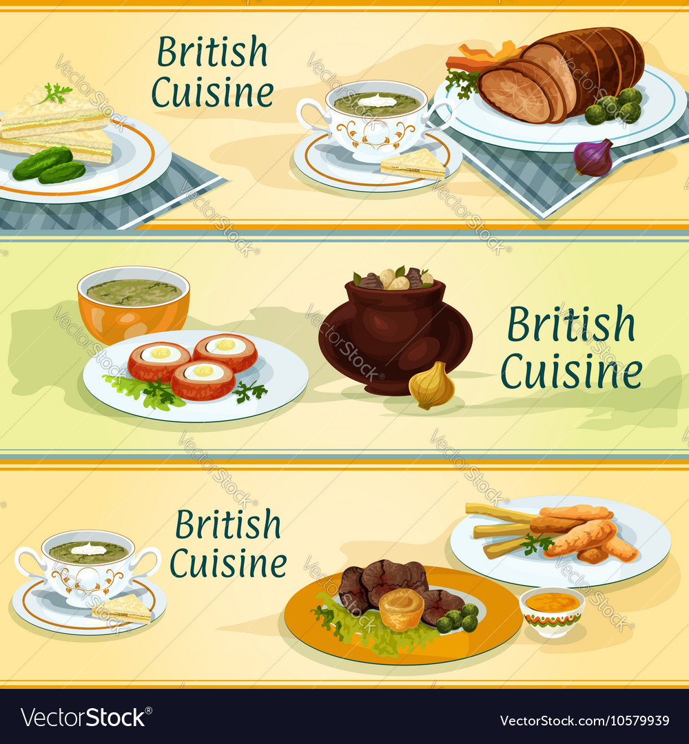British cuisine traditional dishes for menu design british cuisine traditional dishes for menu design vector image forumfinder Image collections