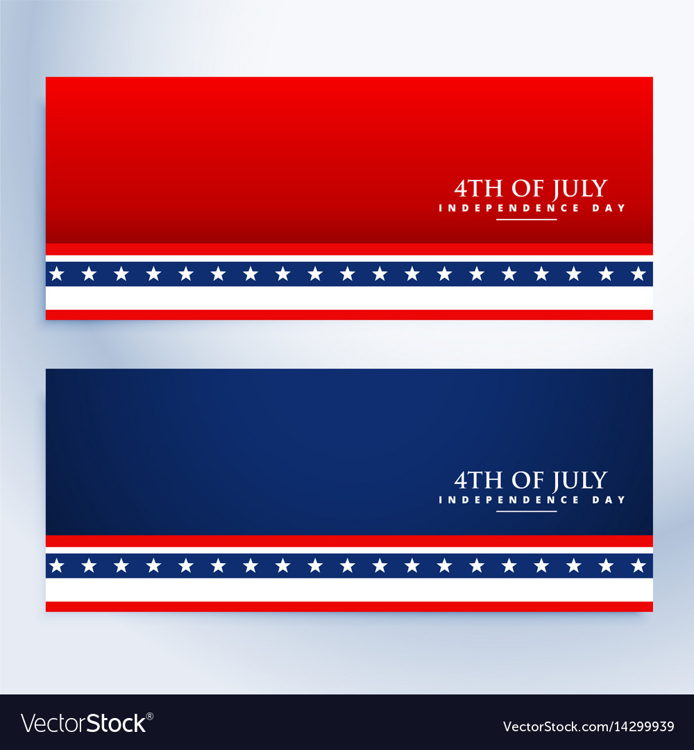 Clean 4th july american banners