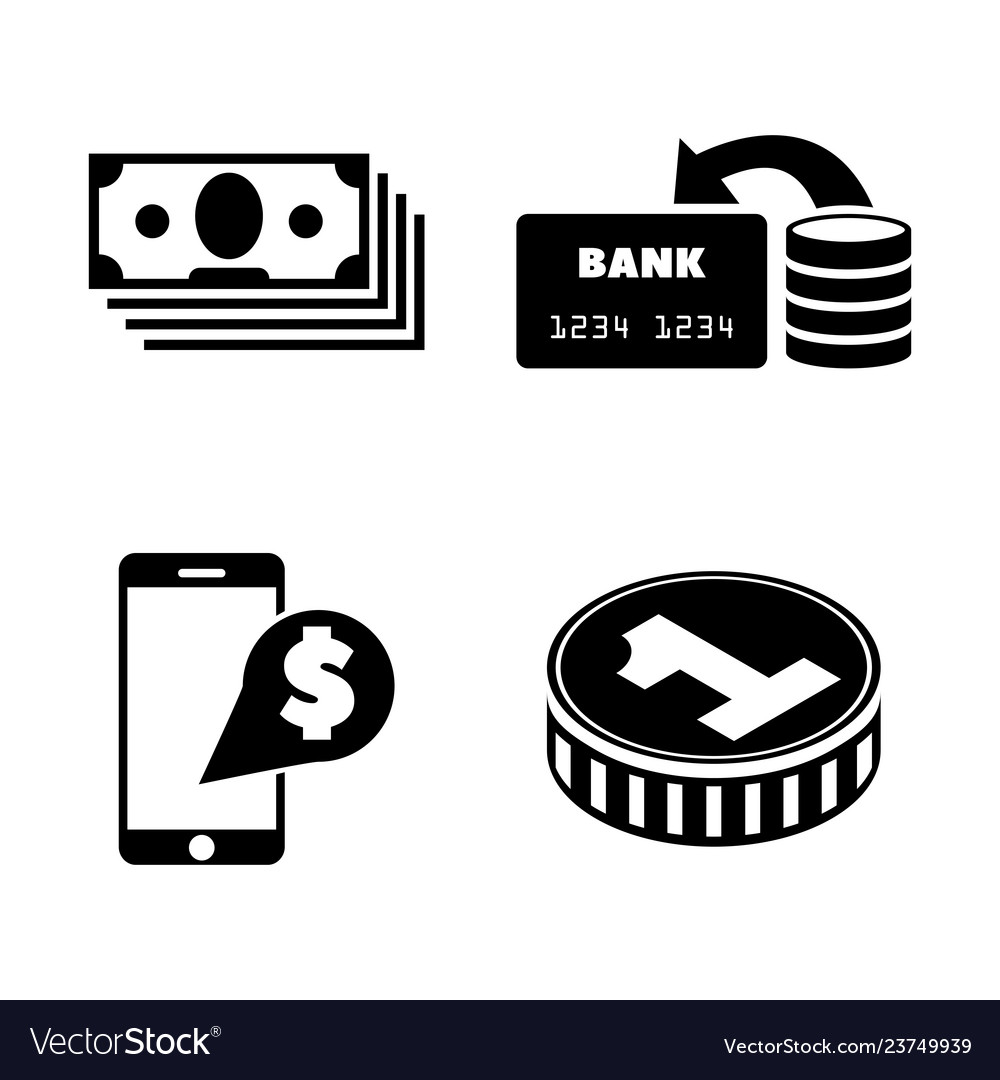 Dollar money cash simple related icons