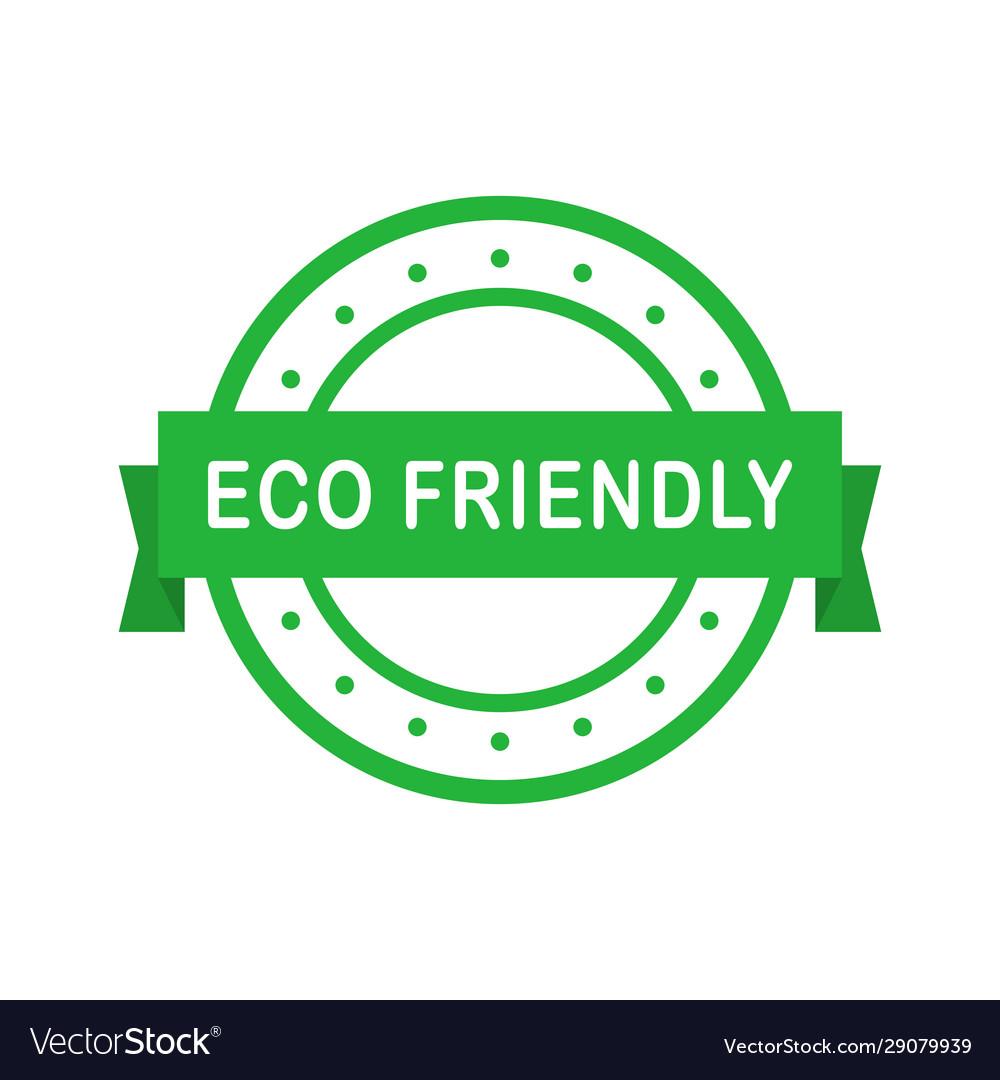 Eco friendly circle green badge with ribbon