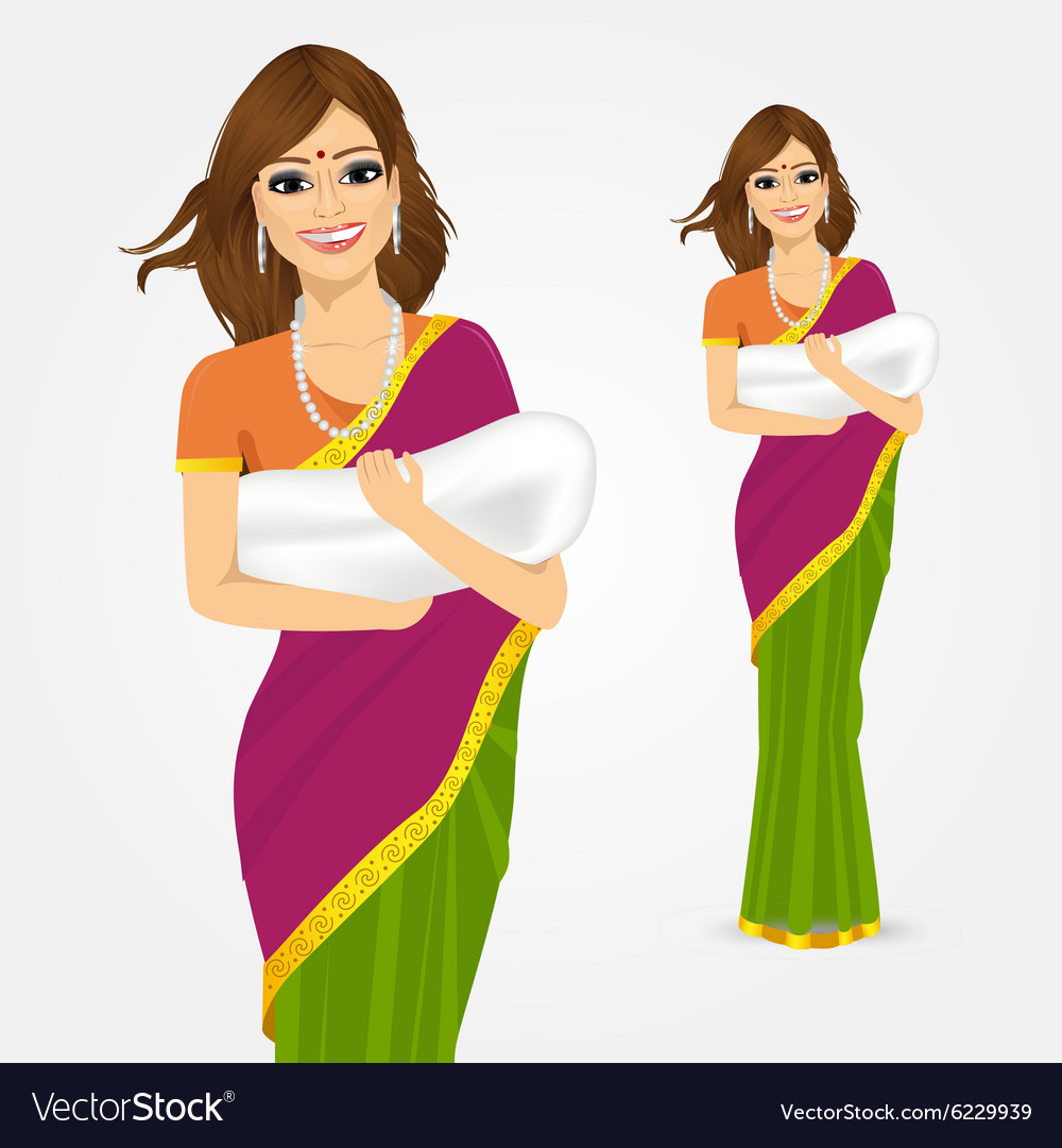 Happy indian mother holding her baby vector image