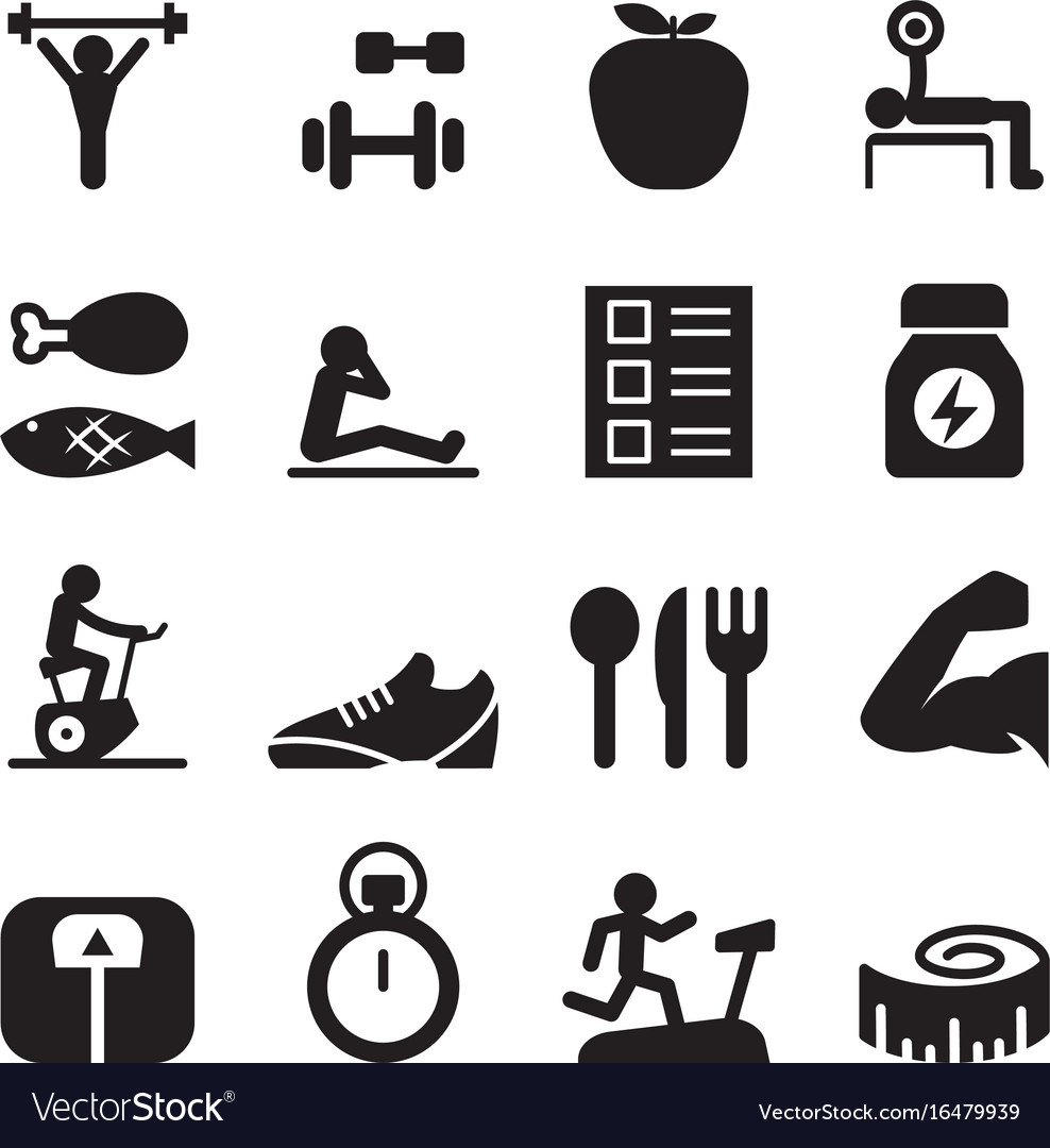 Healthy exercise icons set