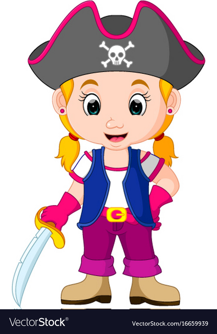 kids girl pirate cartoon royalty free vector image
