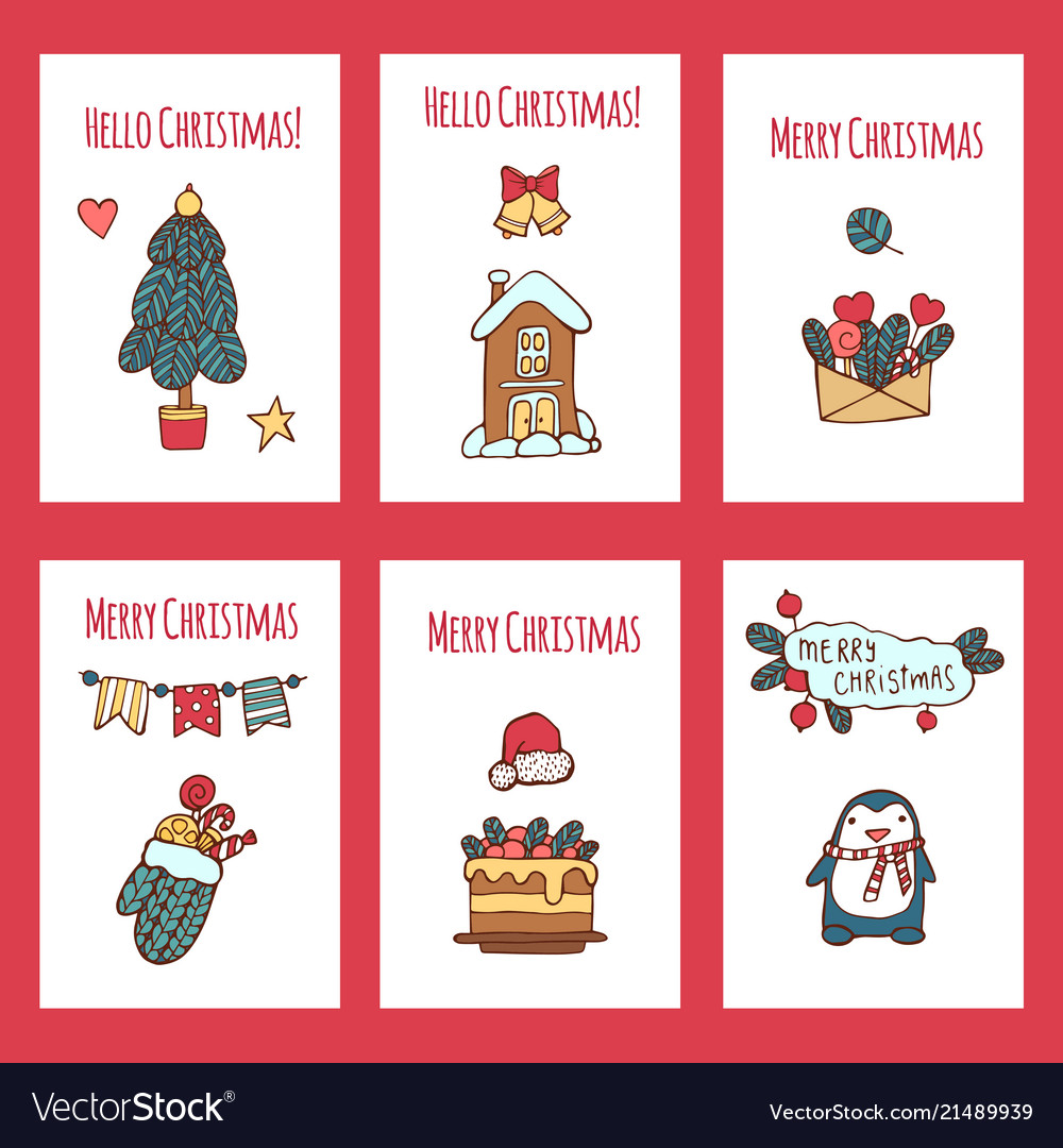 Merry christmas greeting card set with cute xmas