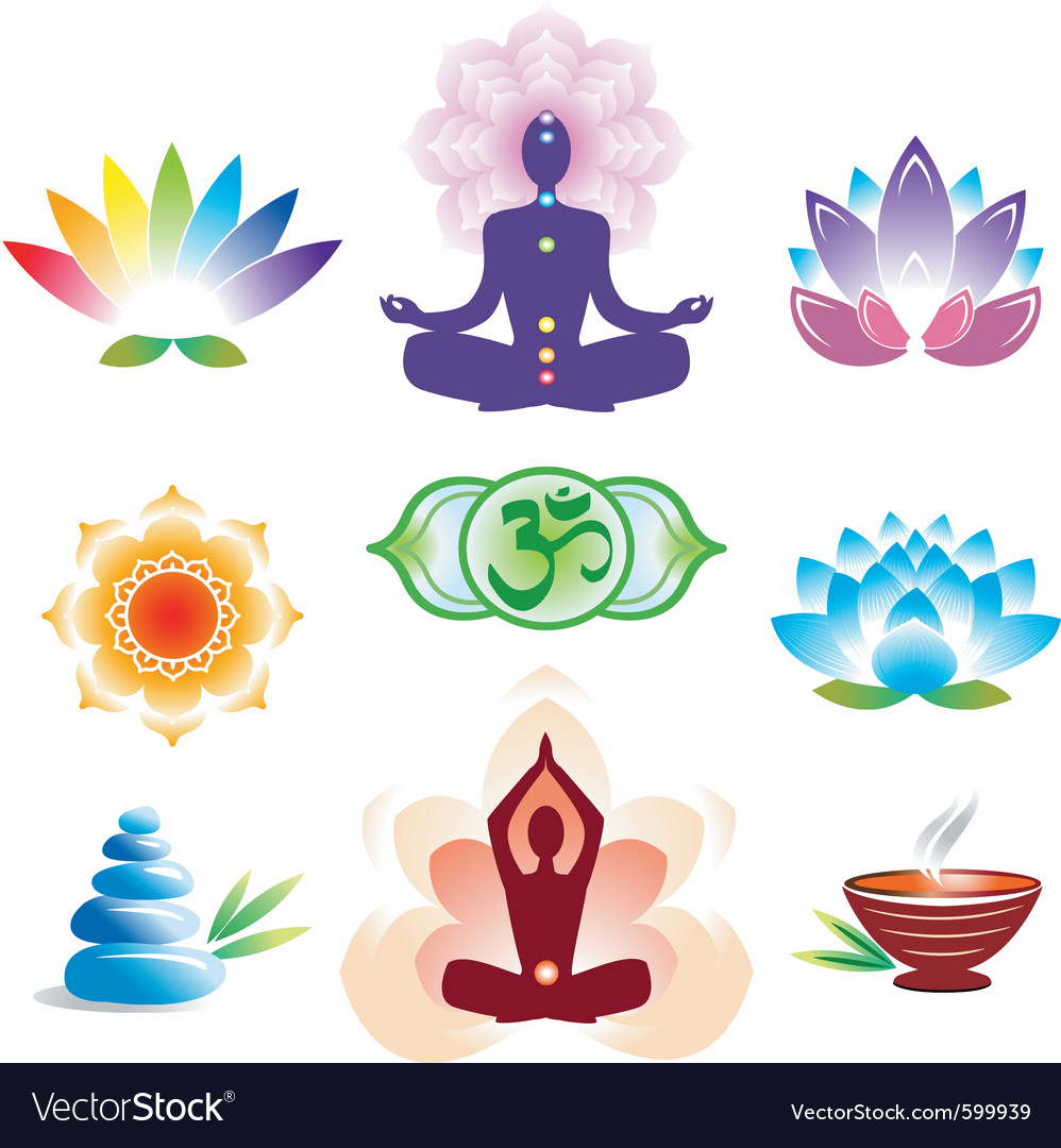 Oriental icons set vector image