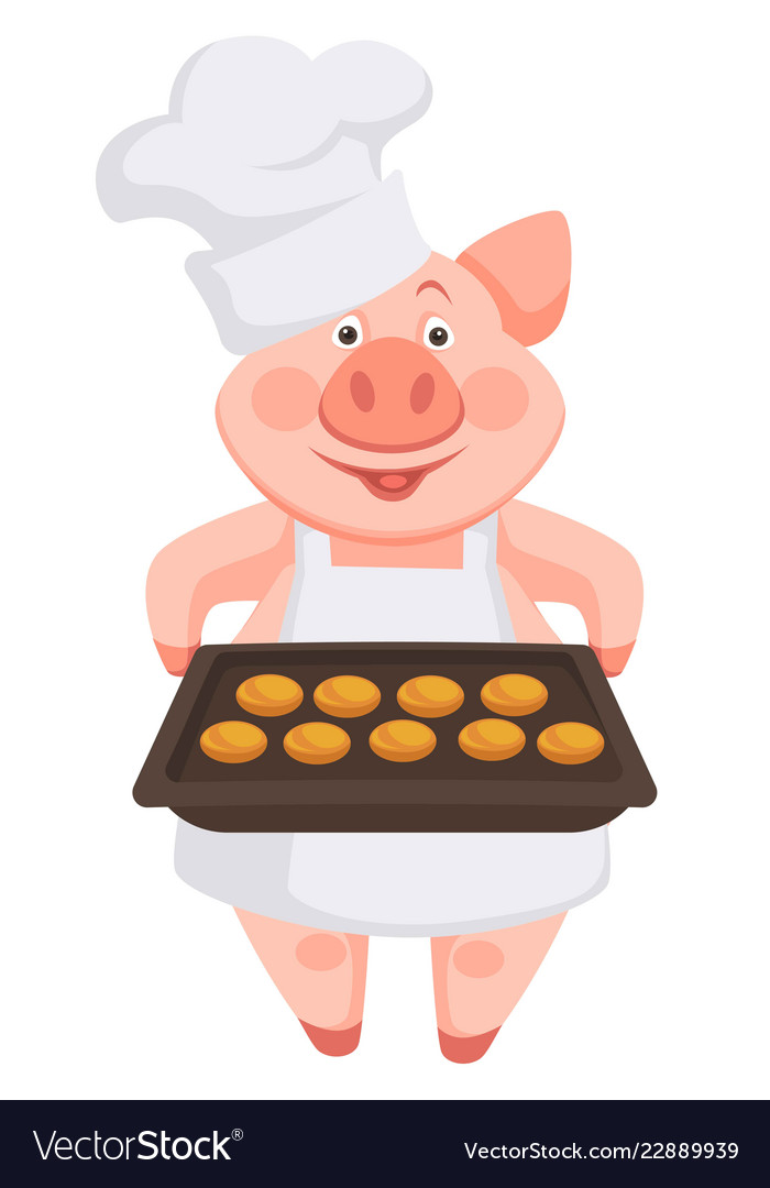 Pig chef wearing hat and apron holding baking