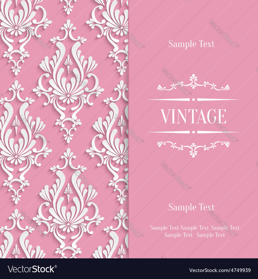 Pink 3d vintage invitation card template vector image stopboris Images