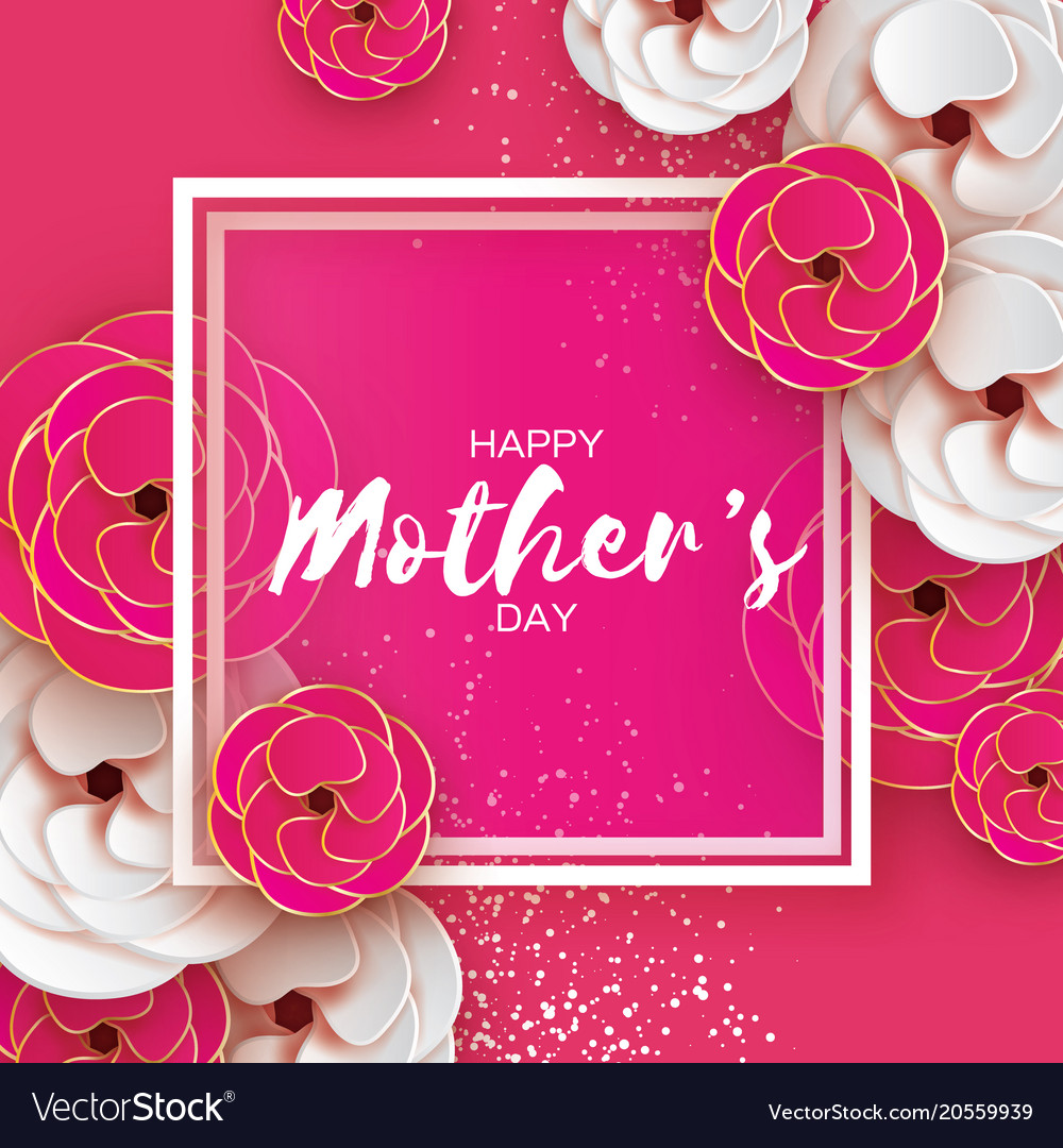 Pink gold happy mothers day greeting card women s vector image m4hsunfo