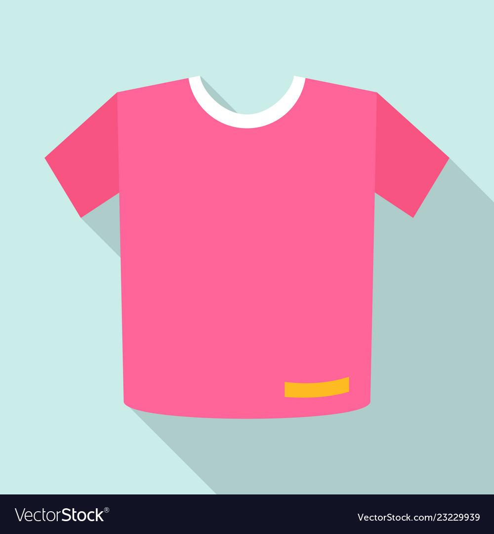 Pink tshirt icon flat style
