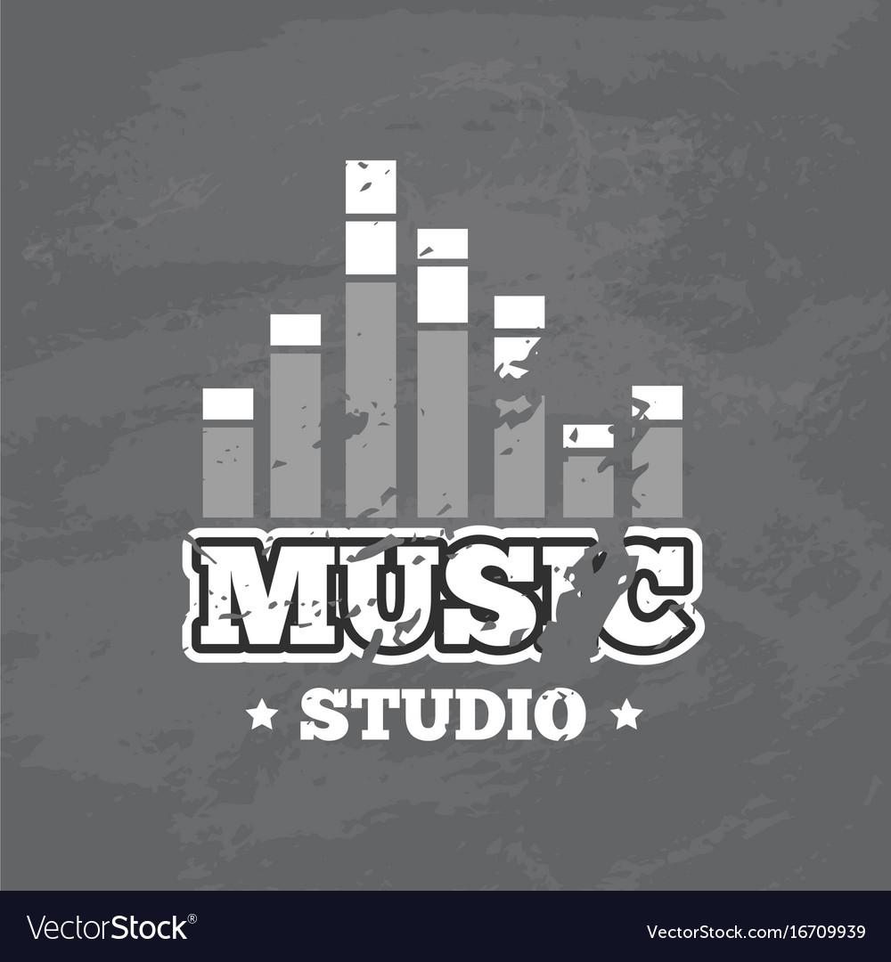 Retro sound record studio logo badge