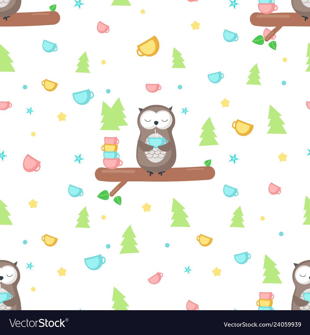 Seamless pattern with cute owl having tea
