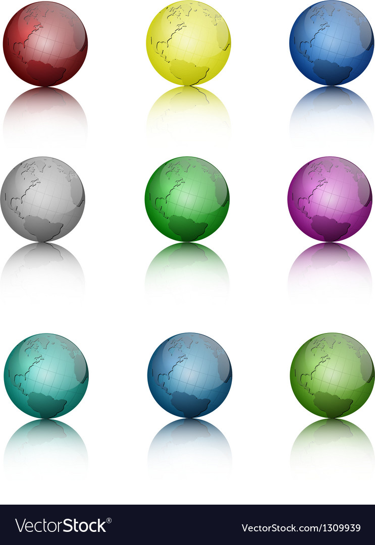Set of colored globe icons