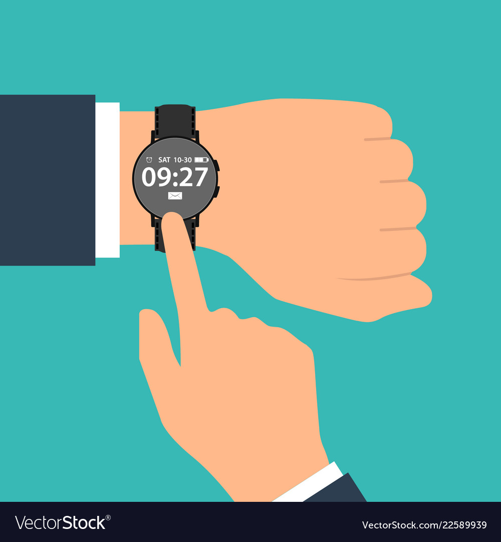 Smart watch on the hand of businessman in suit
