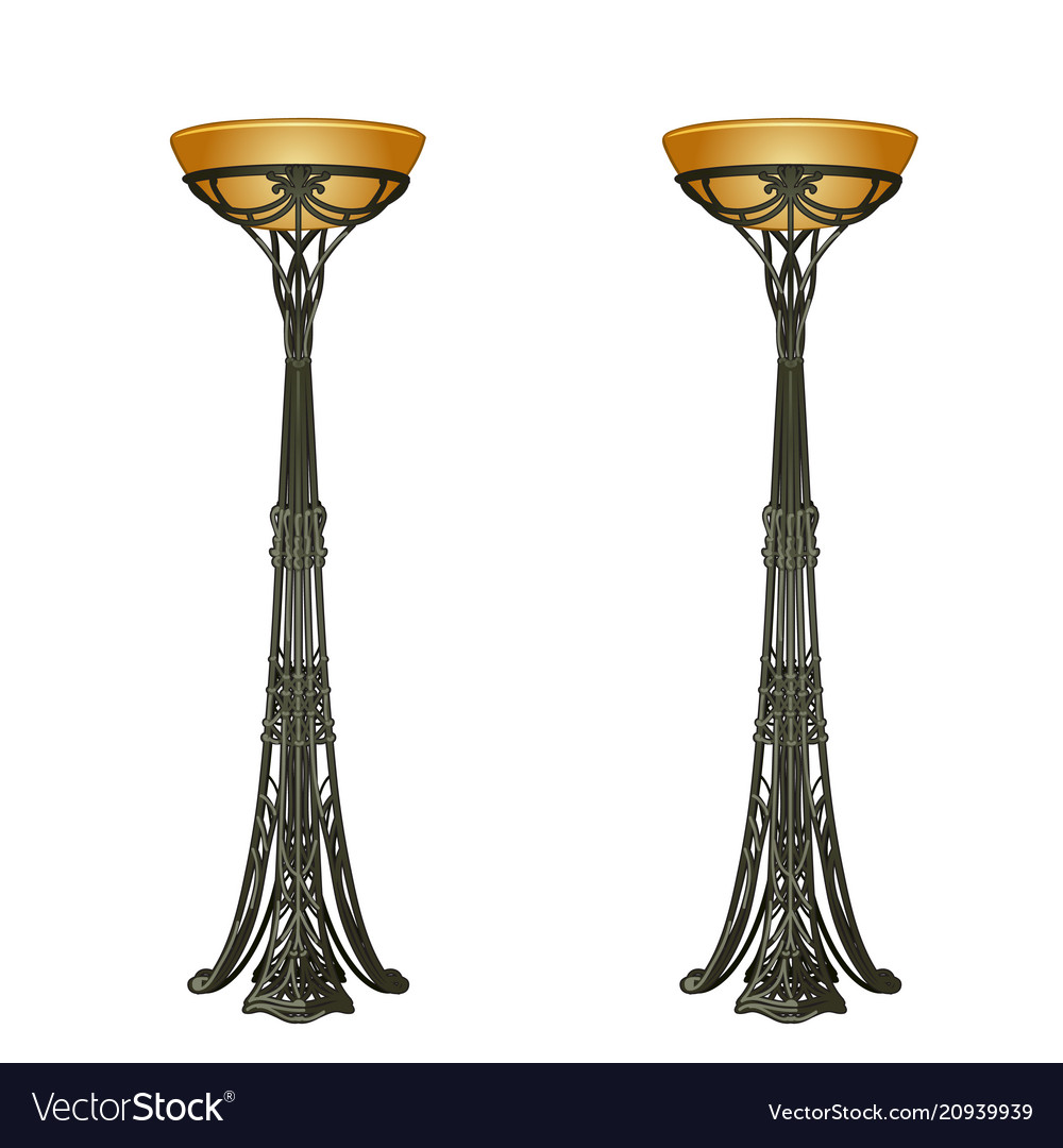 Two vintage floor lamp isolated on white