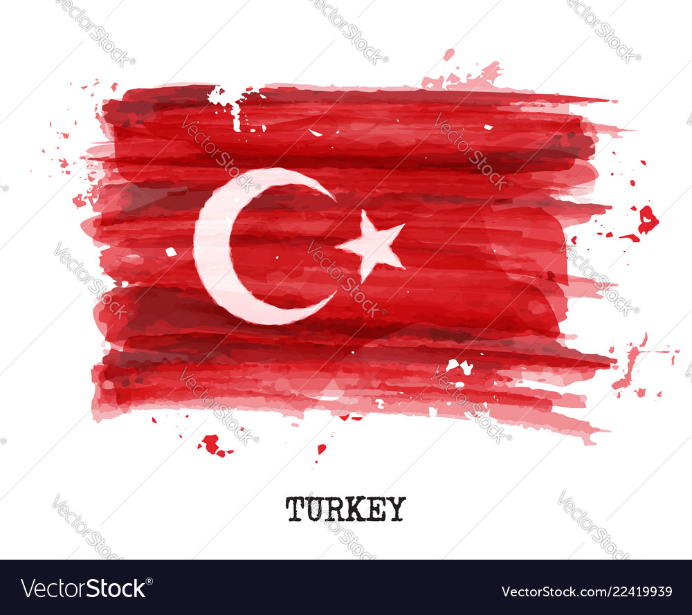 Watercolor painting flag of turkey