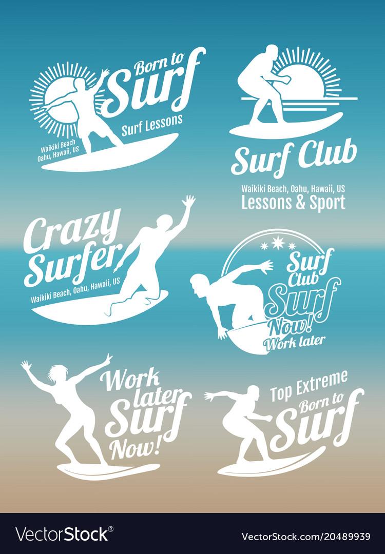 White Creative Summer Surfing Sports Logos Vector Image
