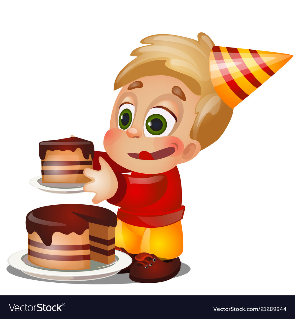 A little happy animated boy eating a piece of cake